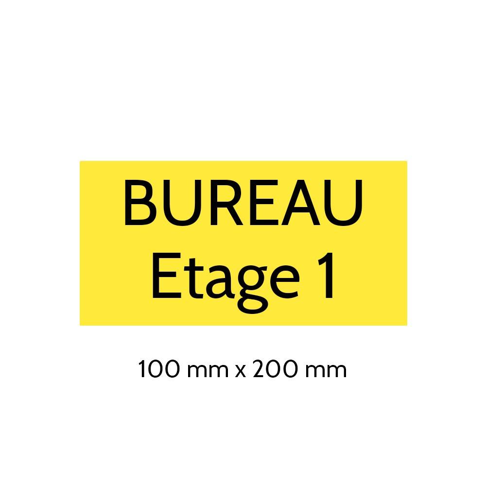 Plaque de porte gravée sur 1 à 2 lignes couleur jaune lettres noires - Format rectangle 100 x 200 mm