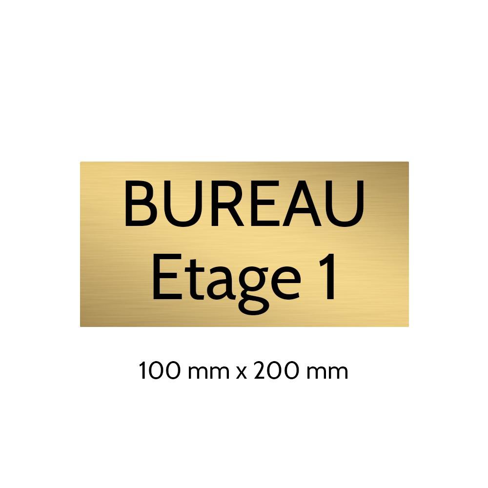 Plaque de porte gravée sur 1 à 2 lignes couleur or brossé lettres noires - Format rectangle 100 x 200 mm