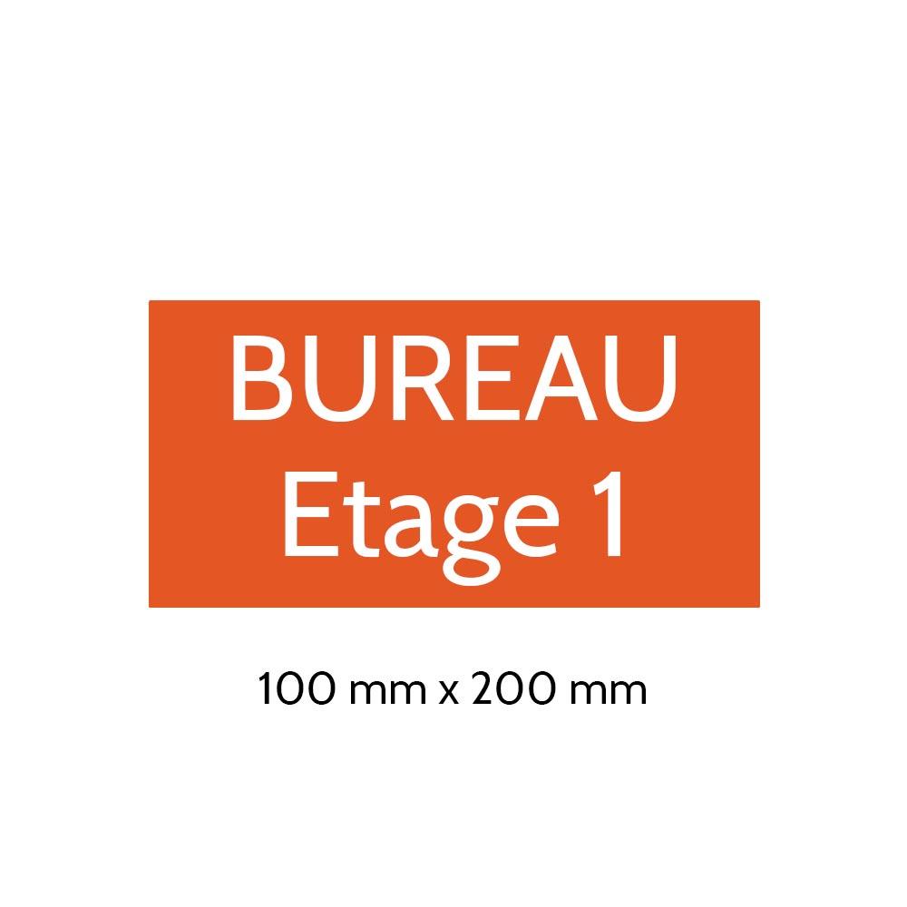 Plaque de porte gravée sur 1 à 2 lignes couleur orange lettres blanches - Format rectangle 100 x 200 mm