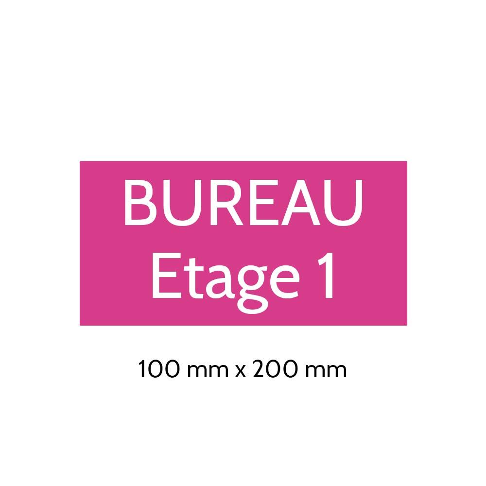 Plaque de porte gravée sur 1 à 2 lignes couleur rose lettres blanches - Format rectangle 100 x 200 mm