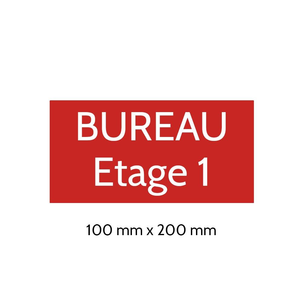 Plaque de porte gravée sur 1 à 2 lignes couleur rouge lettres blanches - Format rectangle 100 x 200 mm