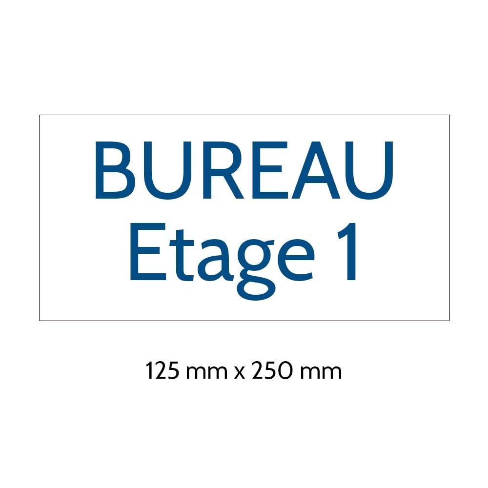 Plaque de porte gravée sur 1 à 2 lignes couleur blanche lettres bleues - Format rectangle 125 x 250 mm