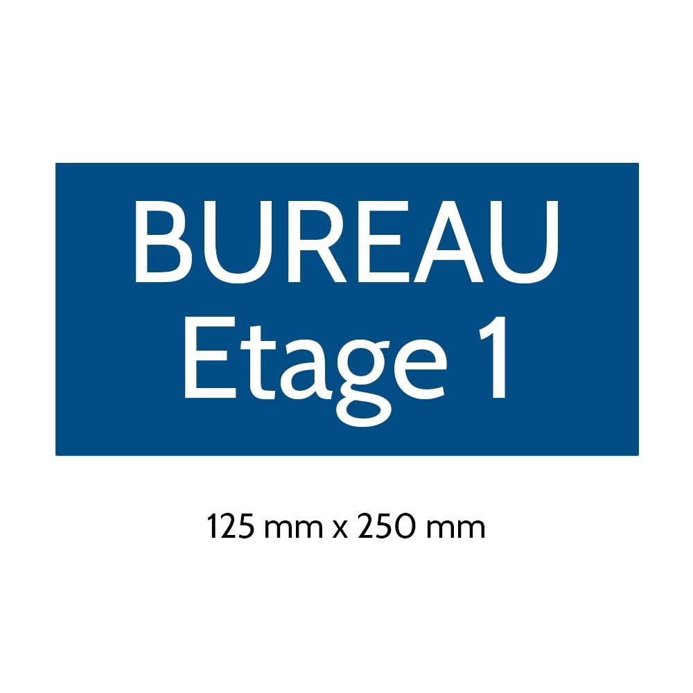 Plaque de porte gravée sur 1 à 2 lignes couleur bleue lettres blanches - Format rectangle 125 x 250 mm