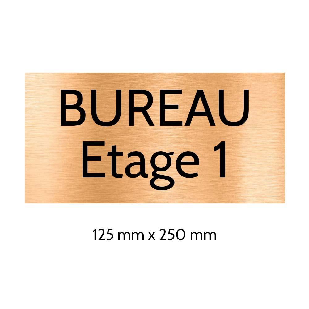 Plaque de porte gravée sur 1 à 2 lignes couleur cuivre lettres noires - Format rectangle 125 x 250 mm