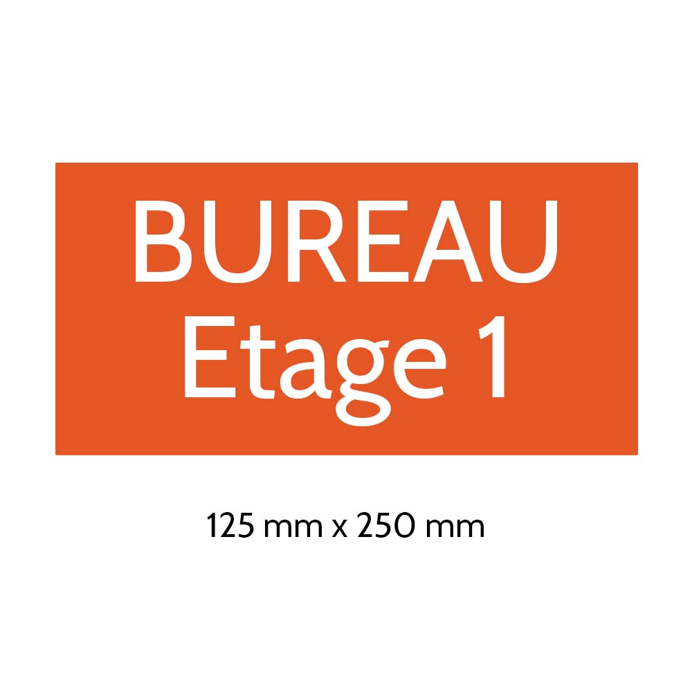 Plaque de porte gravée sur 1 à 2 lignes couleur orange lettres blanches - Format rectangle 125 x 250 mm