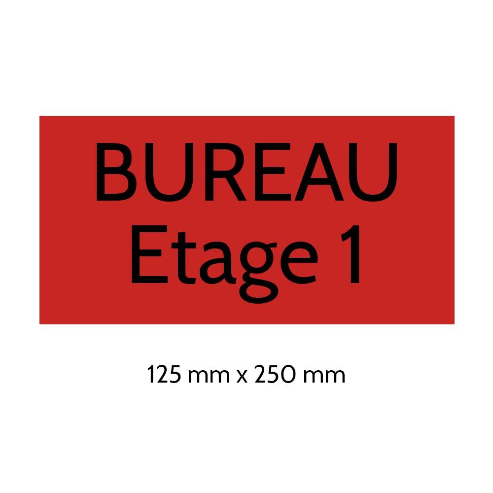 Plaque de porte gravée sur 1 à 2 lignes couleur rouge lettres noires - Format rectangle 125 x 250 mm