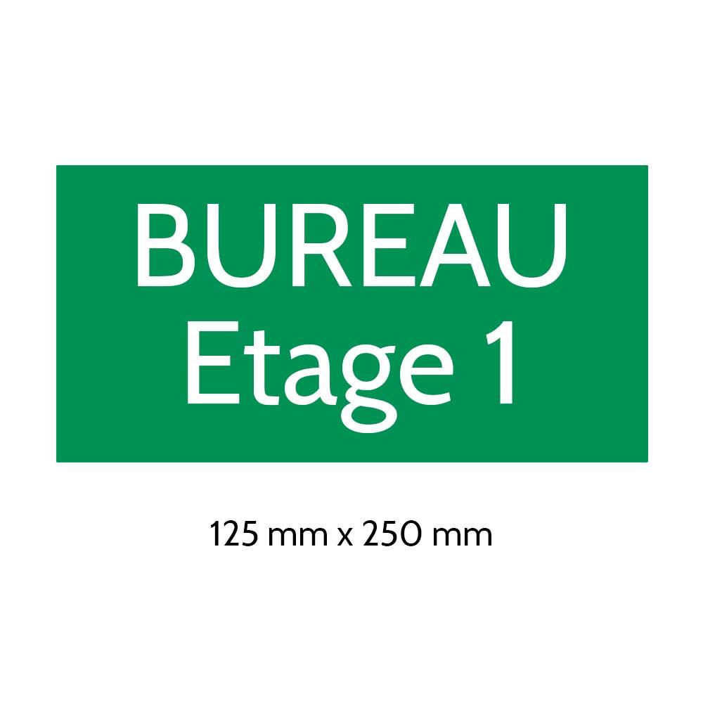 Plaque de porte gravée sur 1 à 2 lignes couleur vert clair lettres blanches - Format rectangle 125 x 250 mm