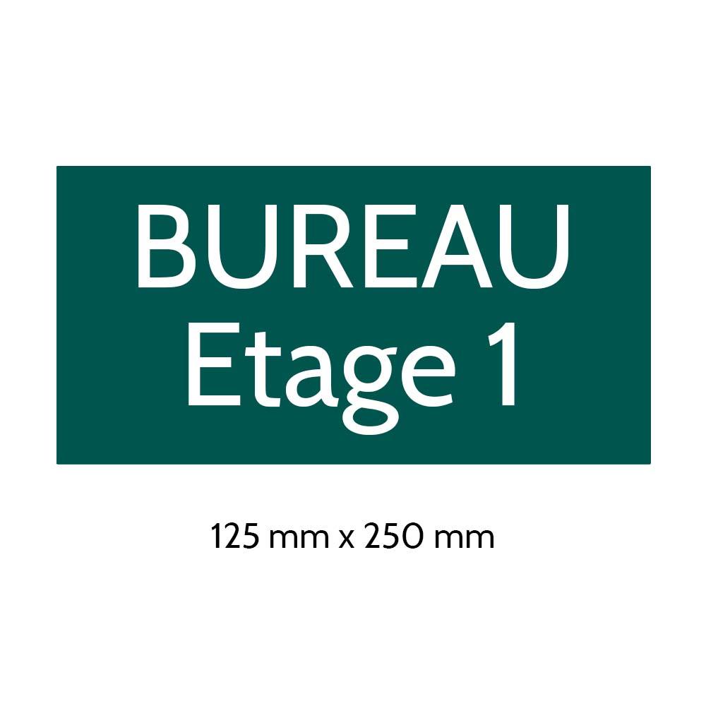 Plaque de porte gravée sur 1 à 2 lignes couleur vert foncé lettres blanches - Format rectangle 125 x 250 mm