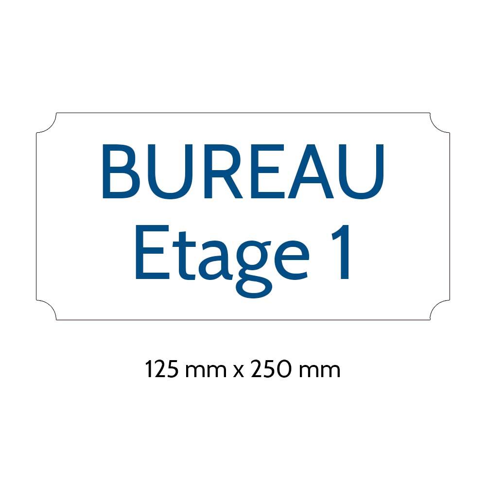 Plaque de porte gravée sur 1 à 2 lignes couleur blanche lettres bleues - Rectangle classique 125 x 250 mm