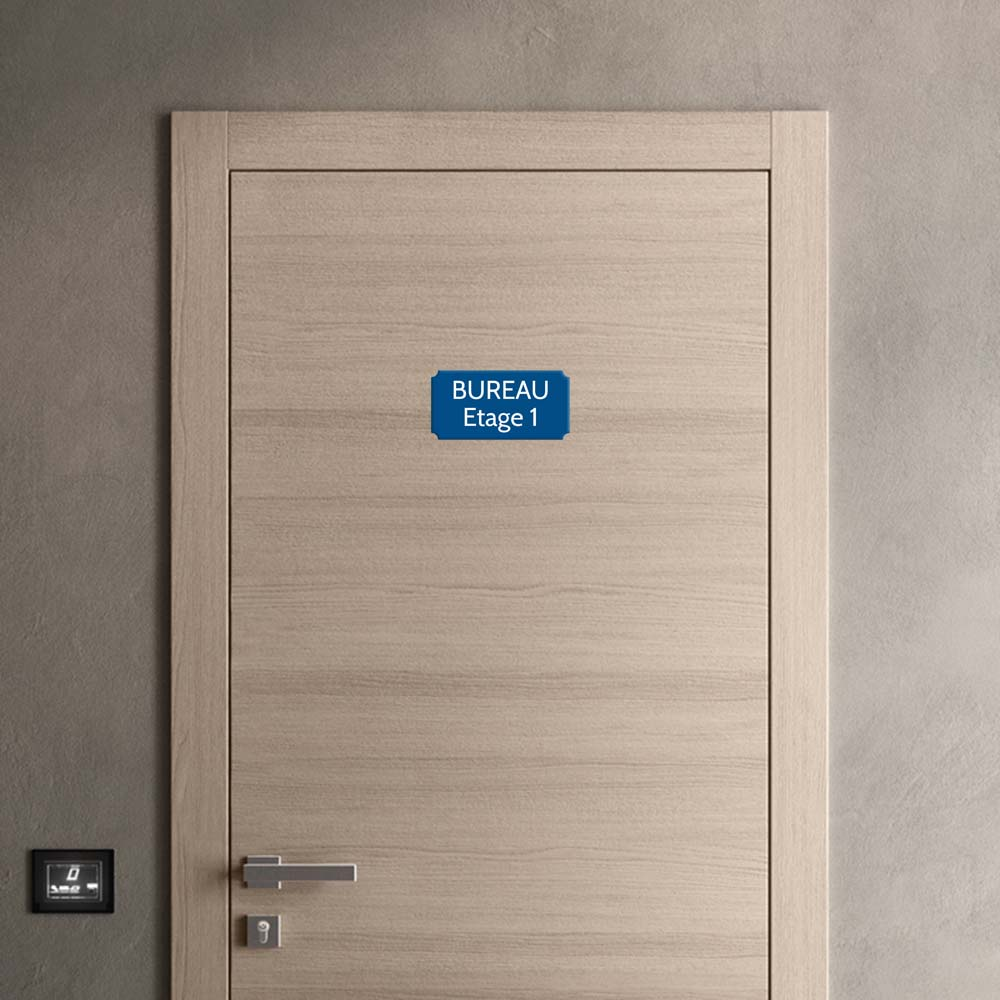 Plaque de porte gravée sur 1 à 2 lignes couleur bleue lettres blanches - Rectangle classique 125 x 250 mm