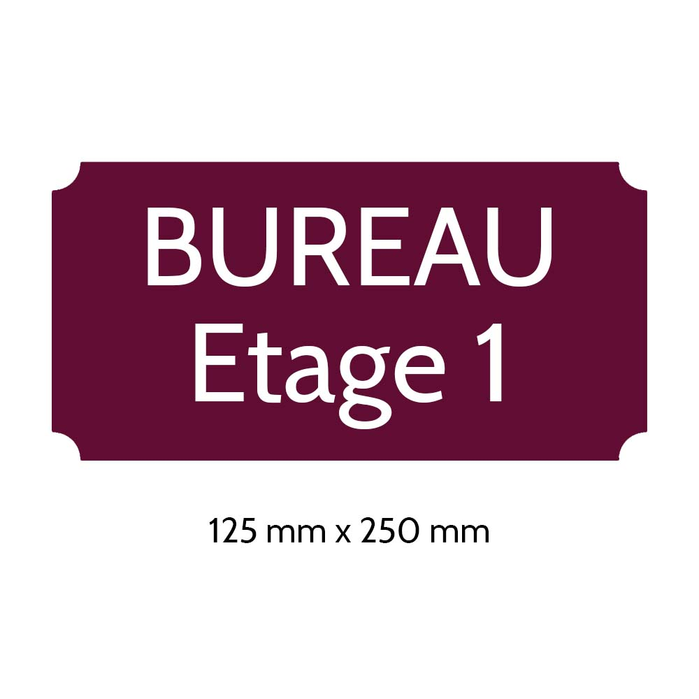 Plaque de porte gravée sur 1 à 2 lignes couleur bordeaux lettres blanches - Rectangle classique 125 x 250 mm