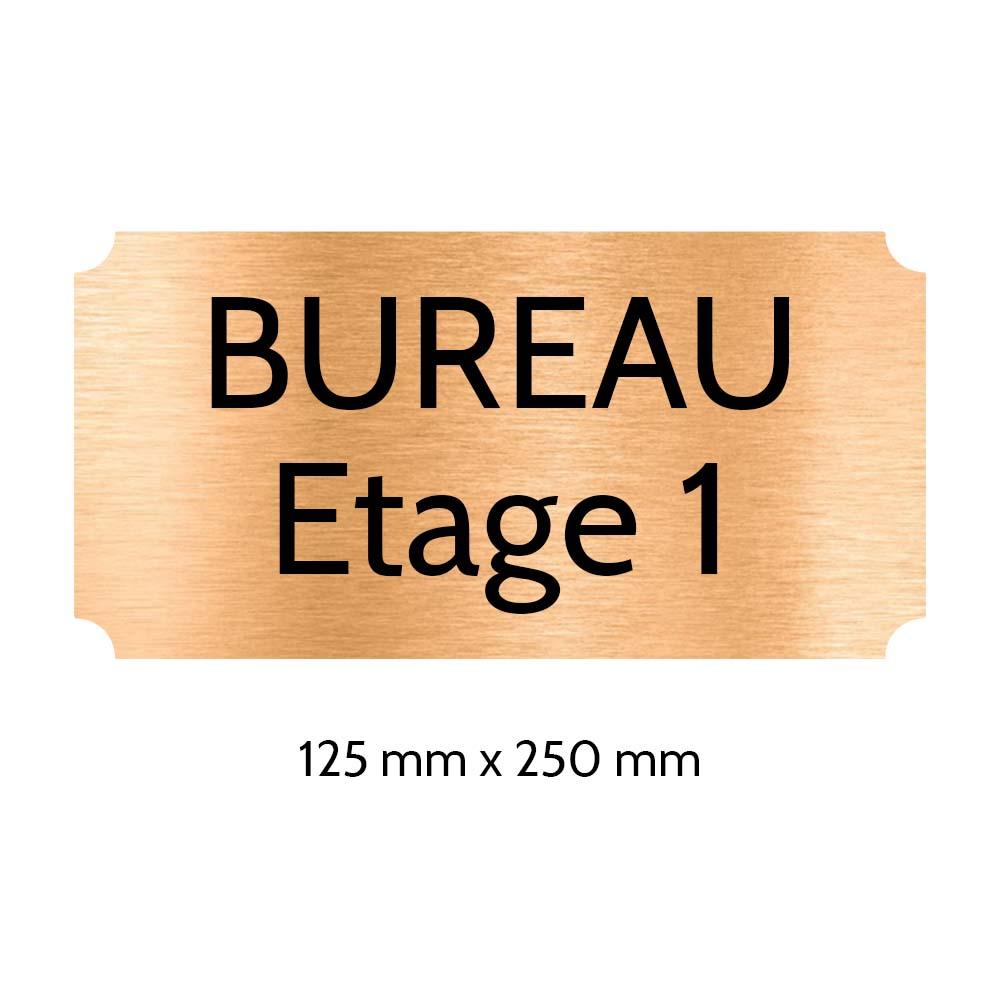 Plaque de porte gravée sur 1 à 2 lignes couleur cuivre lettres noires - Rectangle classique 125 x 250 mm