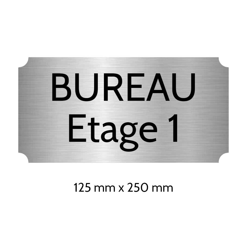 Plaque de porte gravée sur 1 à 2 lignes couleur gris argent lettres noires - Rectangle classique 125 x 250 mm