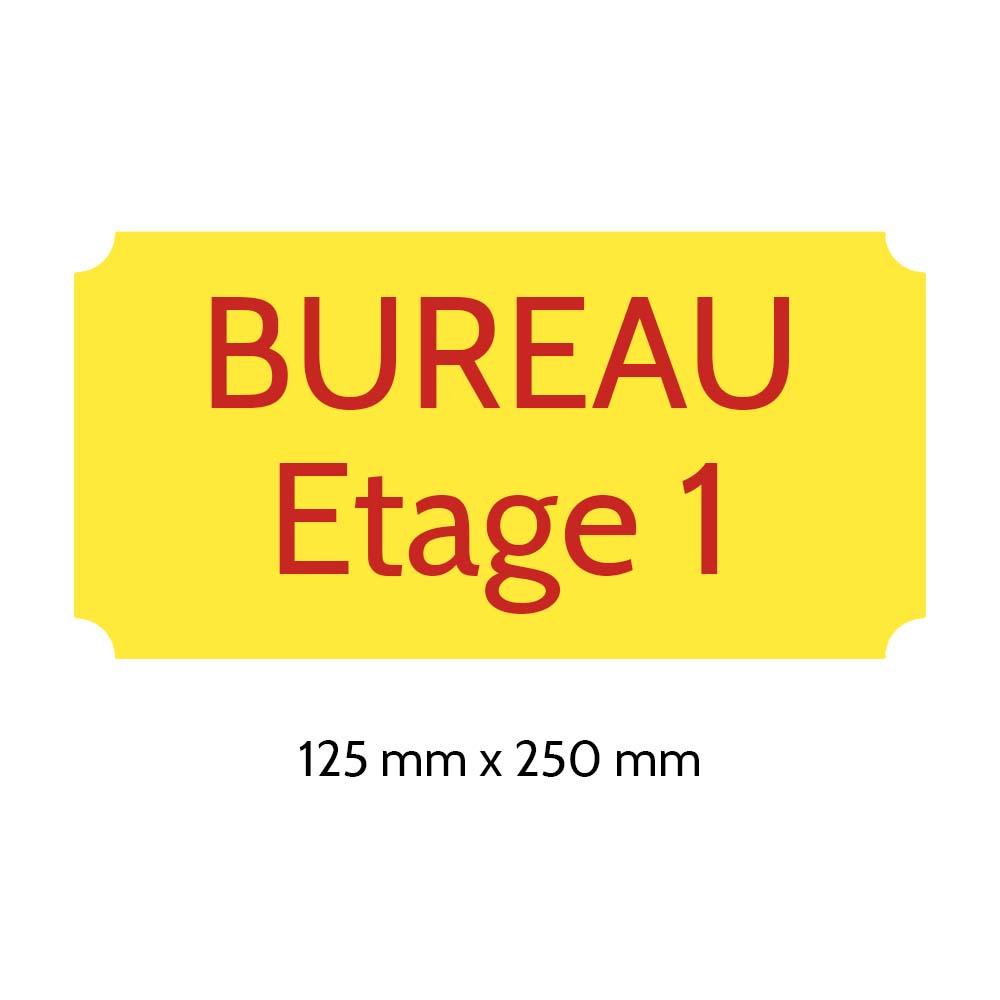 Plaque de porte gravée sur 1 à 2 lignes couleur Jaune lettres rouges - Rectangle classique 125 x 250 mm