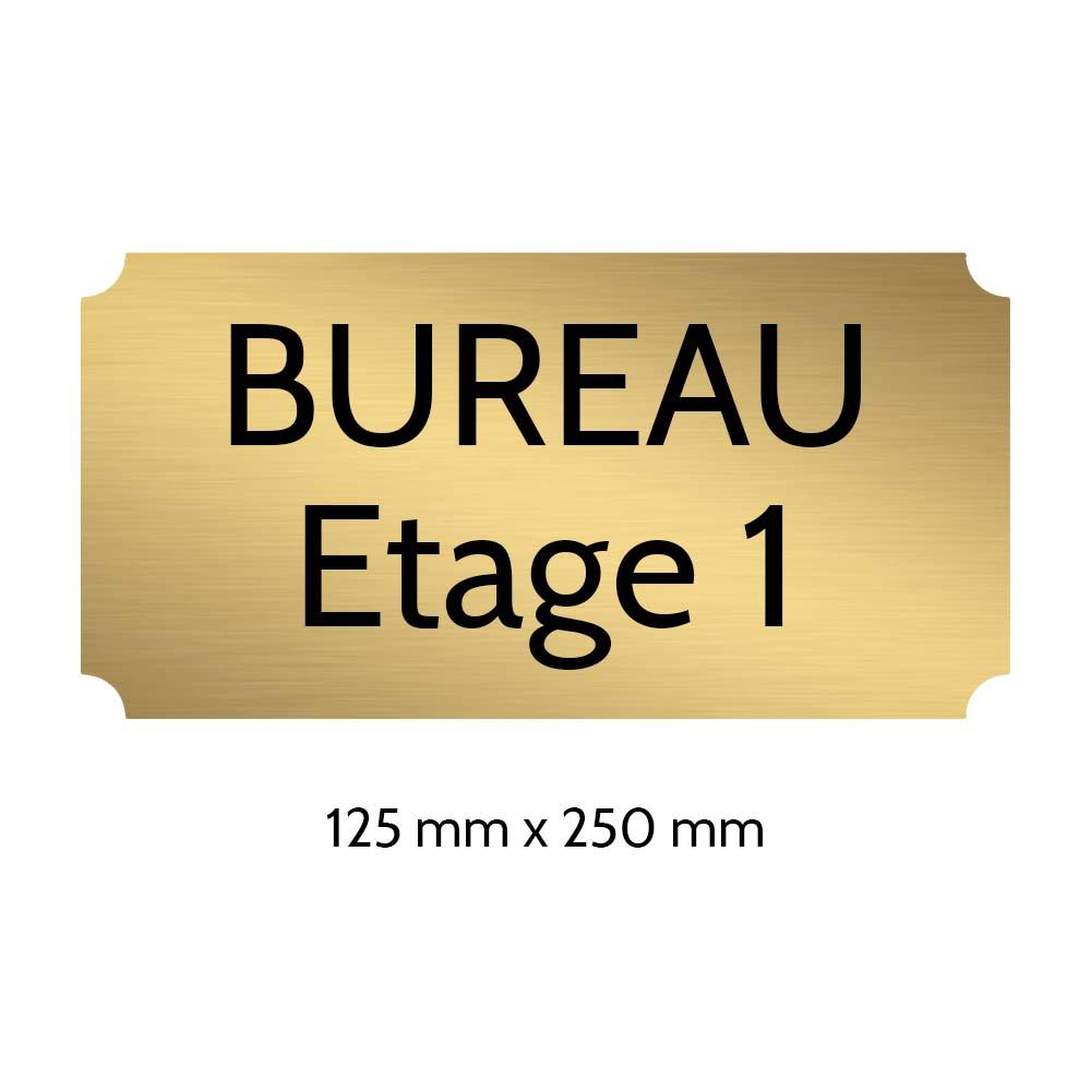 Plaque de porte gravée sur 1 à 2 lignes couleur or brossé lettres noires - Rectangle classique 125 x 250 mm