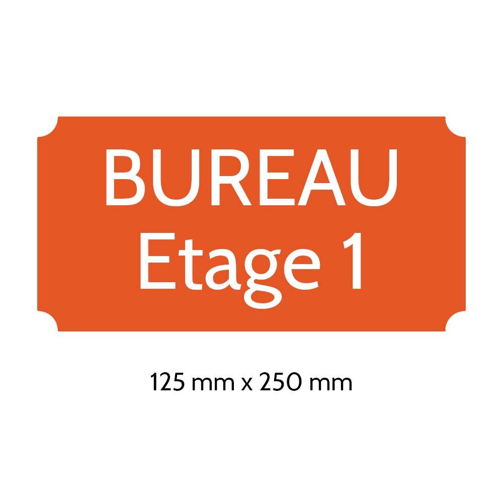 Plaque de porte gravée sur 1 à 2 lignes couleur orange lettres blanches - Rectangle classique 125 x 250 mm