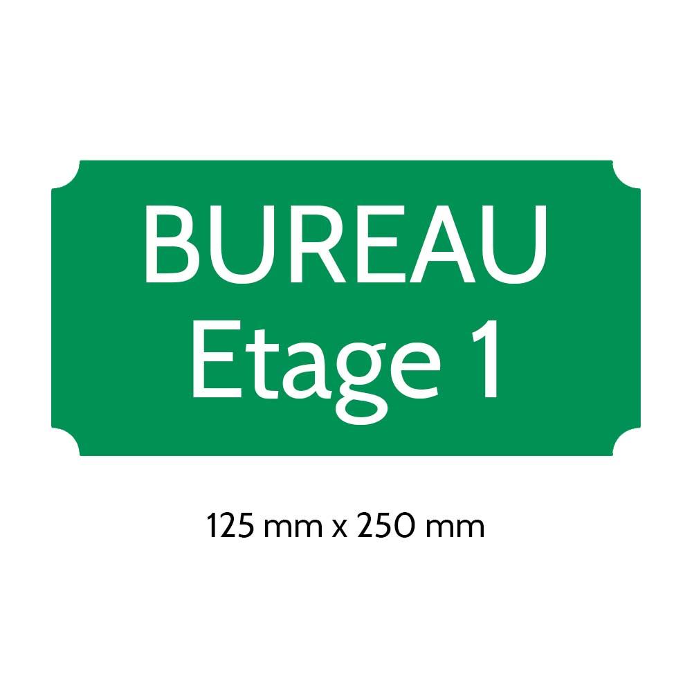 Plaque de porte gravée sur 1 à 2 lignes couleur vert clair lettres blanches - Rectangle classique 125 x 250 mm