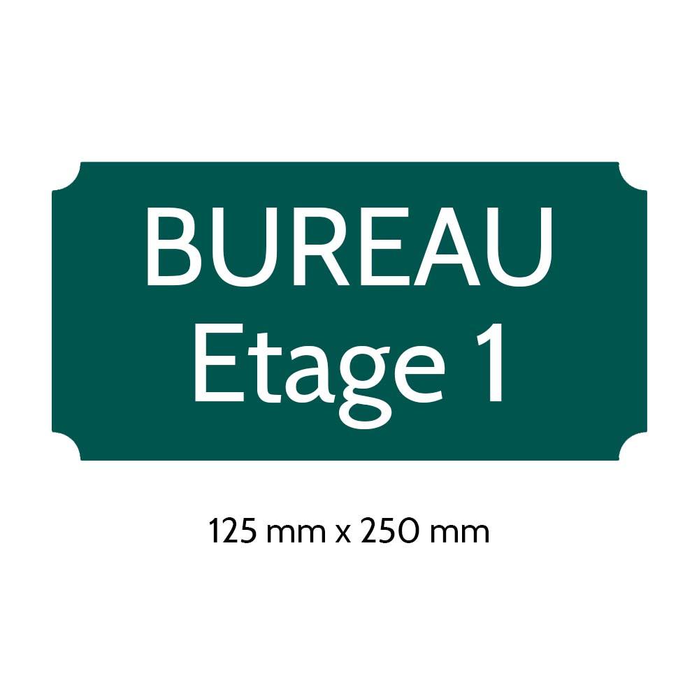 Plaque de porte gravée sur 1 à 2 lignes couleur vert foncé lettres blanches - Rectangle classique 125 x 250 mm