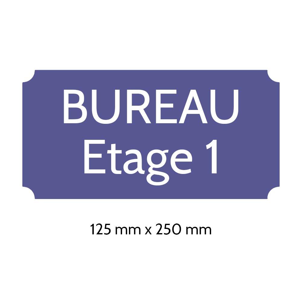 Plaque de porte gravée sur 1 à 2 lignes couleur violette lettres blanches - Rectangle classique 125 x 250 mm