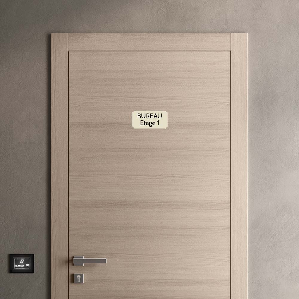 Plaque de porte gravée sur 1 à 2 lignes couleur beige lettres noires - Format rectangle classique 100 x 200 mm