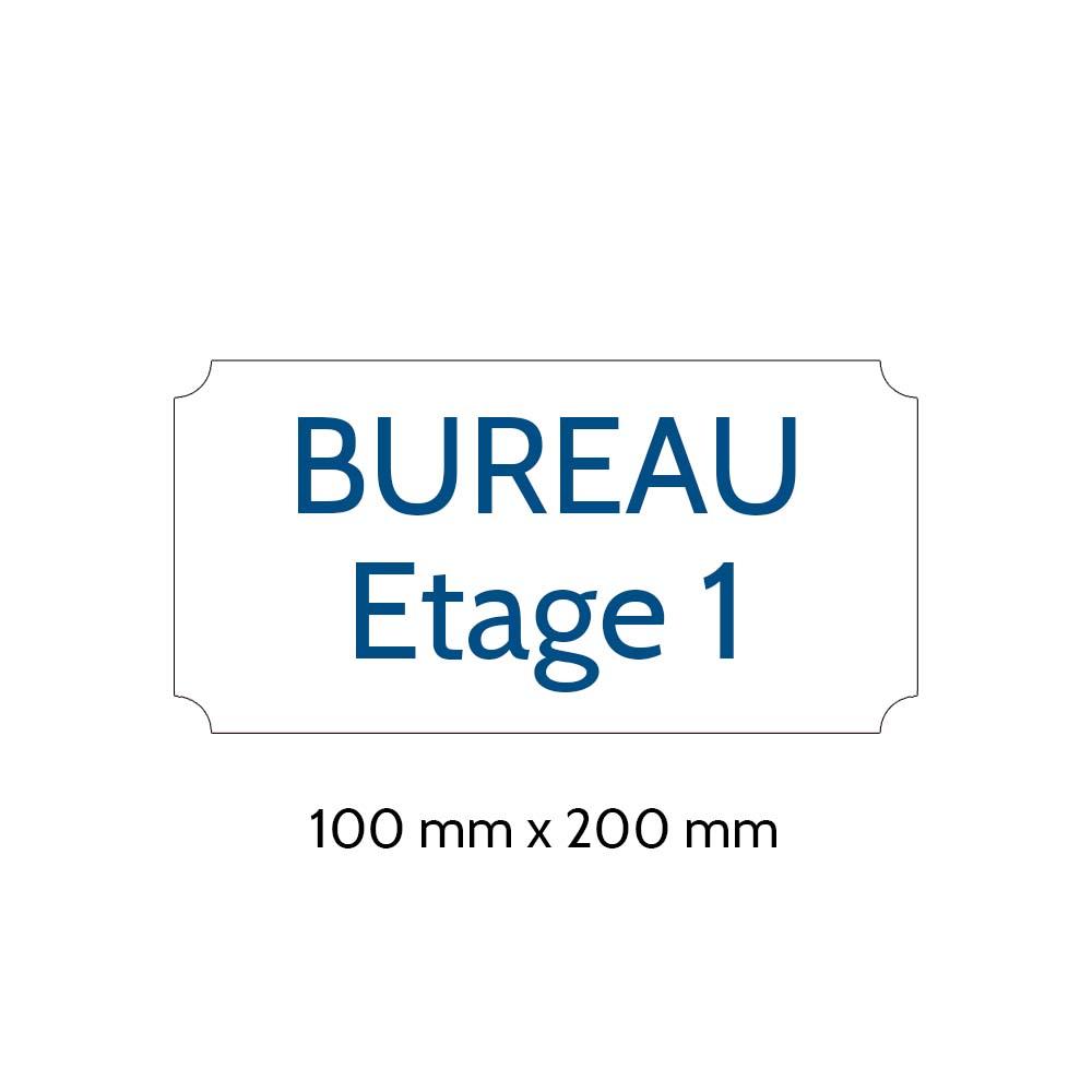 Plaque de porte gravée sur 1 à 2 lignes couleur blanche lettres bleues - Format rectangle classique 100 x 200 mm