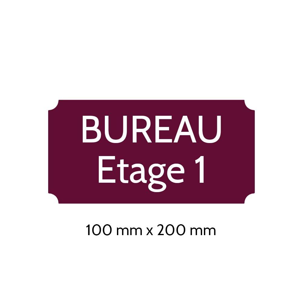 Plaque de porte gravée sur 1 à 2 lignes couleur bordeaux lettres blanches - Format rectangle classique 100 x 200 mm