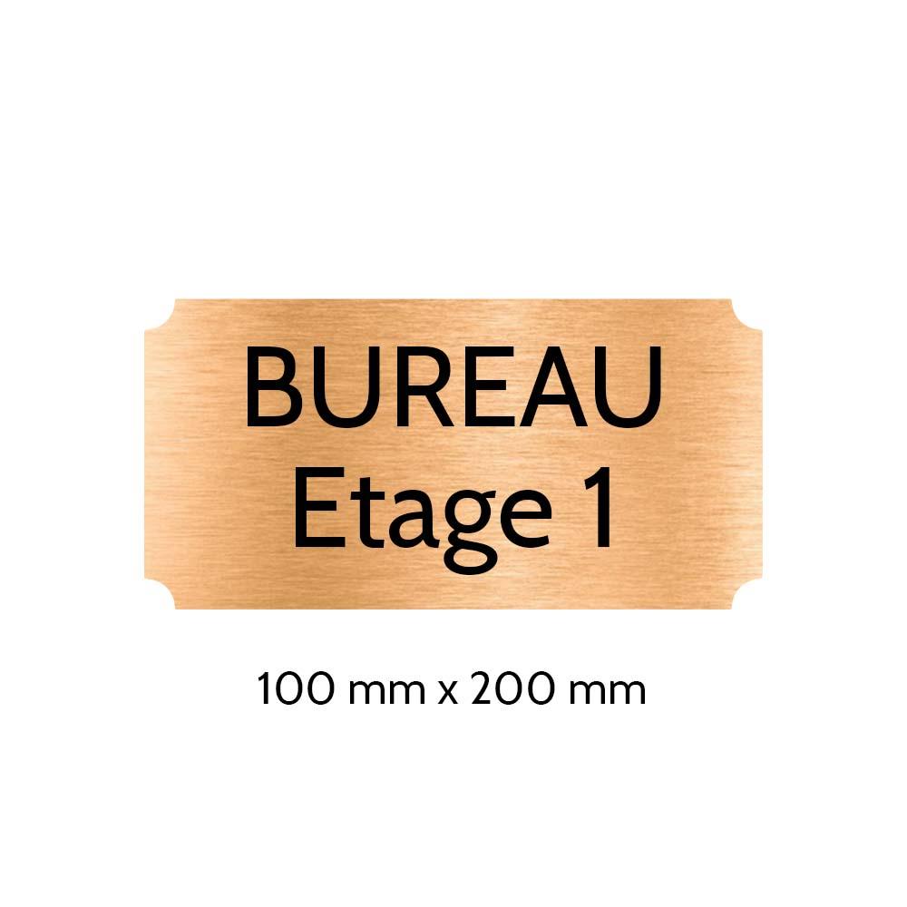 Plaque de porte gravée sur 1 à 2 lignes couleur cuivre lettres noires - Format rectangle classique 100 x 200 mm