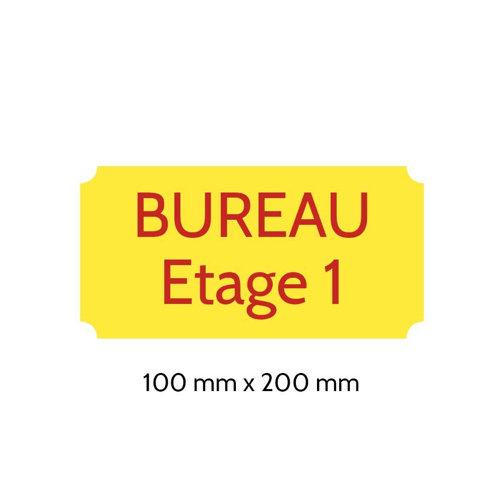 Plaque de porte gravée sur 1 à 2 lignes couleur Jaune lettres rouges - Format rectangle classique 100 x 200 mm