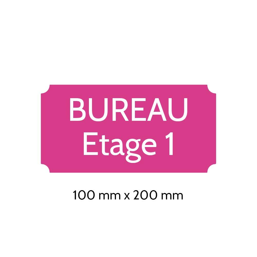 Plaque de porte gravée sur 1 à 2 lignes couleur rose lettres blanches - Format rectangle classique 100 x 200 mm