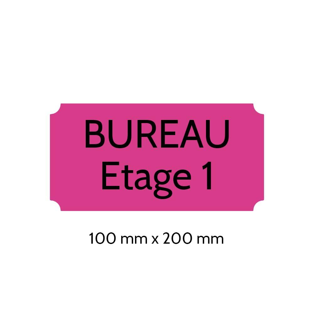 Plaque de porte gravée sur 1 à 2 lignes couleur rose lettres noires - Format rectangle classique 100 x 200 mm