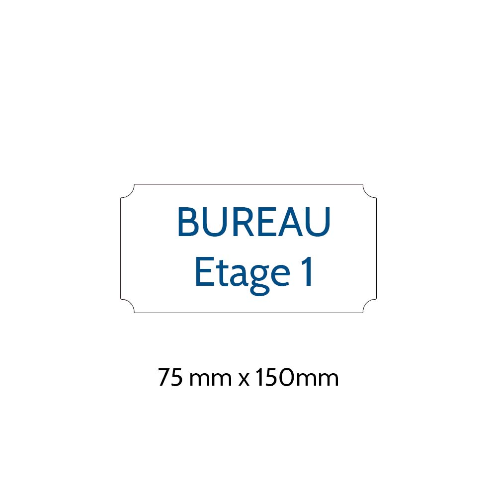 Plaque de porte gravée sur 1 à 2 lignes couleur blanche lettres bleues - Format rectangle classique 75 x 150 mm
