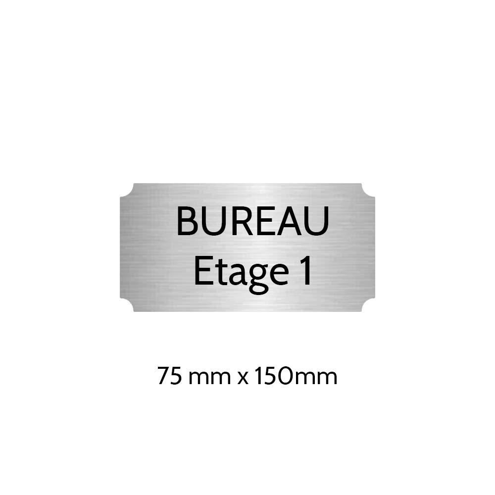 Plaque de porte gravée sur 1 à 2 lignes couleur gris argent lettres noires - Format rectangle classique 75 x 150 mm