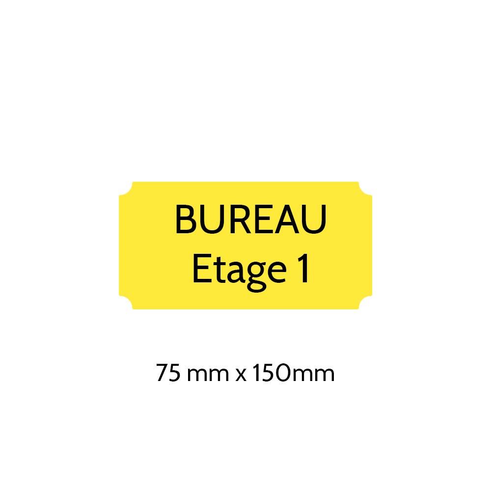 Plaque de porte gravée sur 1 à 2 lignes couleur jaune lettres noires - Format rectangle classique 75 x 150 mm