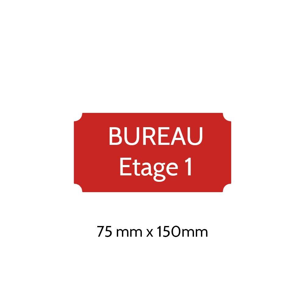Plaque de porte gravée sur 1 à 2 lignes couleur rouge lettres blanches - Format rectangle classique 75 x 150 mm