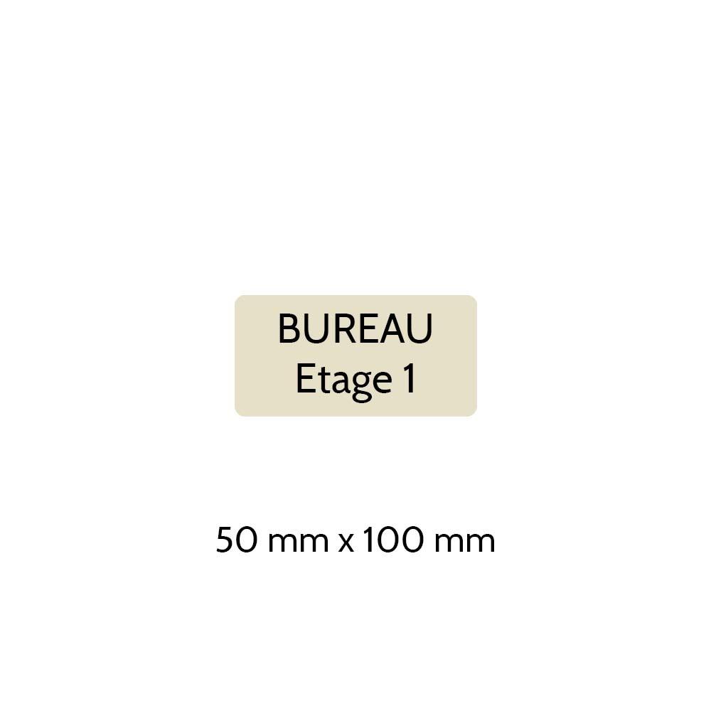 Plaque de porte gravée sur 1 à 2 lignes couleur beige lettres noires - Rectangle angles arrondis 50 x 100 mm