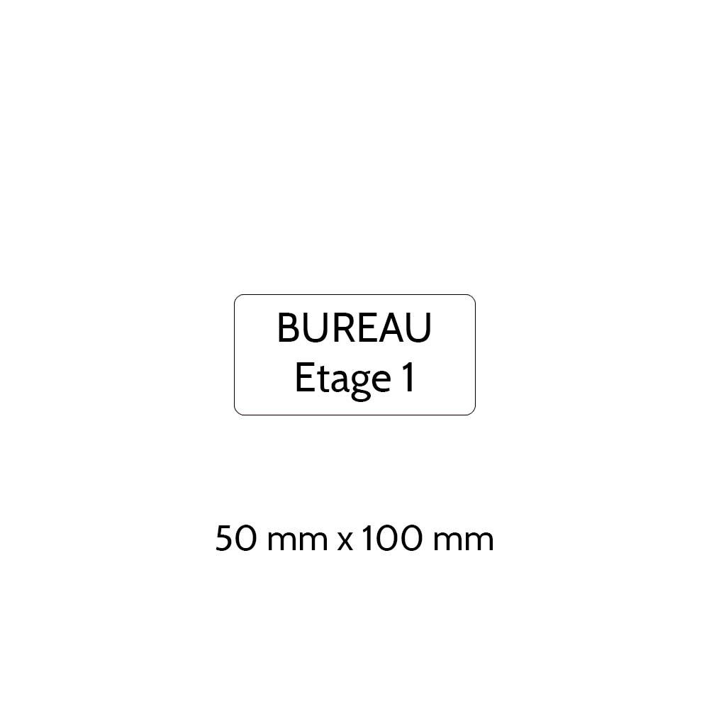 Plaque de porte gravée sur 1 à 2 lignes couleur blanche lettres noires - Rectangle angles arrondis 50 x 100 mm