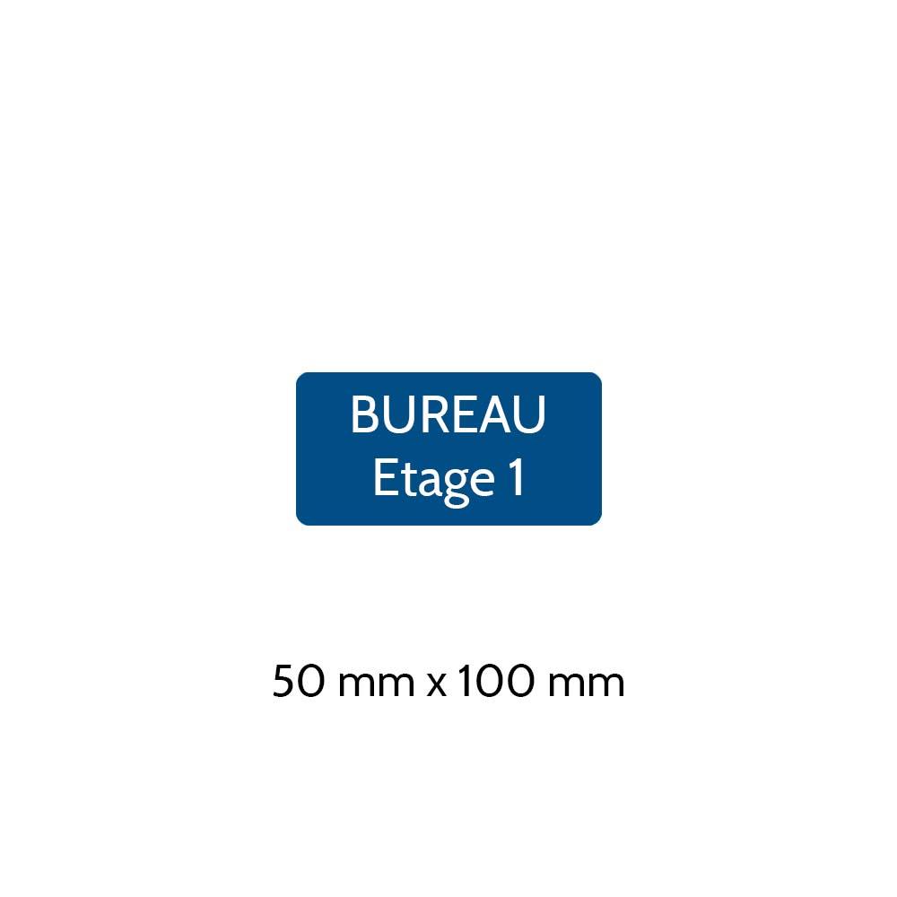 Plaque de porte gravée sur 1 à 2 lignes couleur bleue lettres blanches - Rectangle angles arrondis 50 x 100 mm