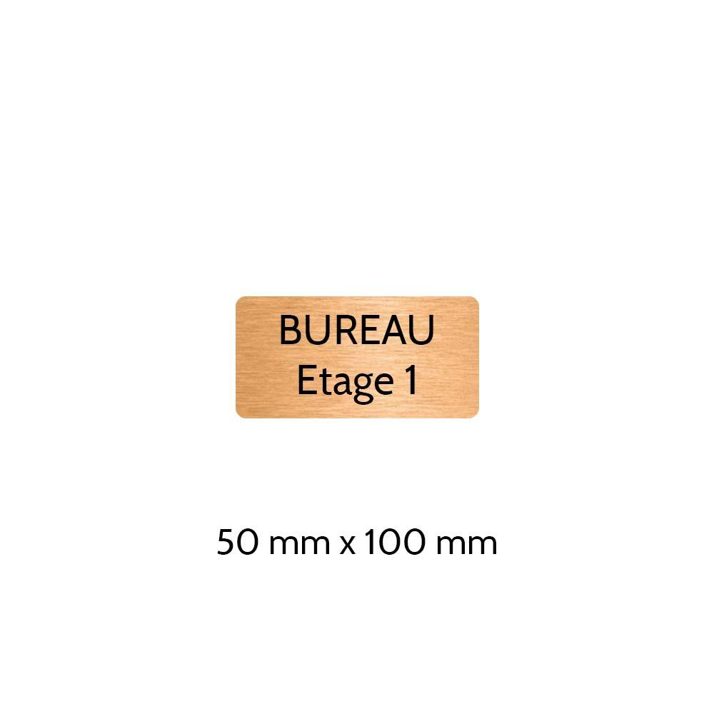 Plaque de porte gravée sur 1 à 2 lignes couleur cuivre lettres noires - Rectangle angles arrondis 50 x 100 mm