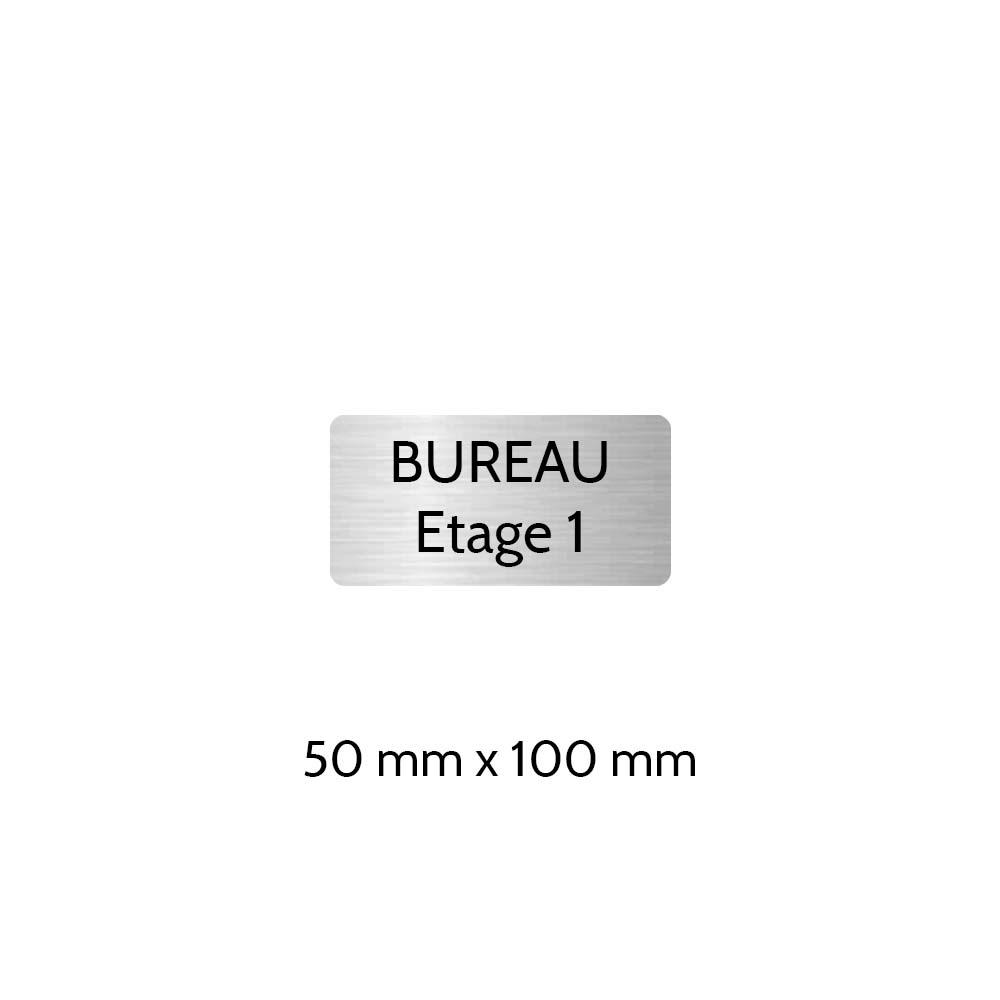 Plaque de porte gravée sur 1 à 2 lignes couleur gris argent lettres noires - Rectangle angles arrondis 50 x 100 mm