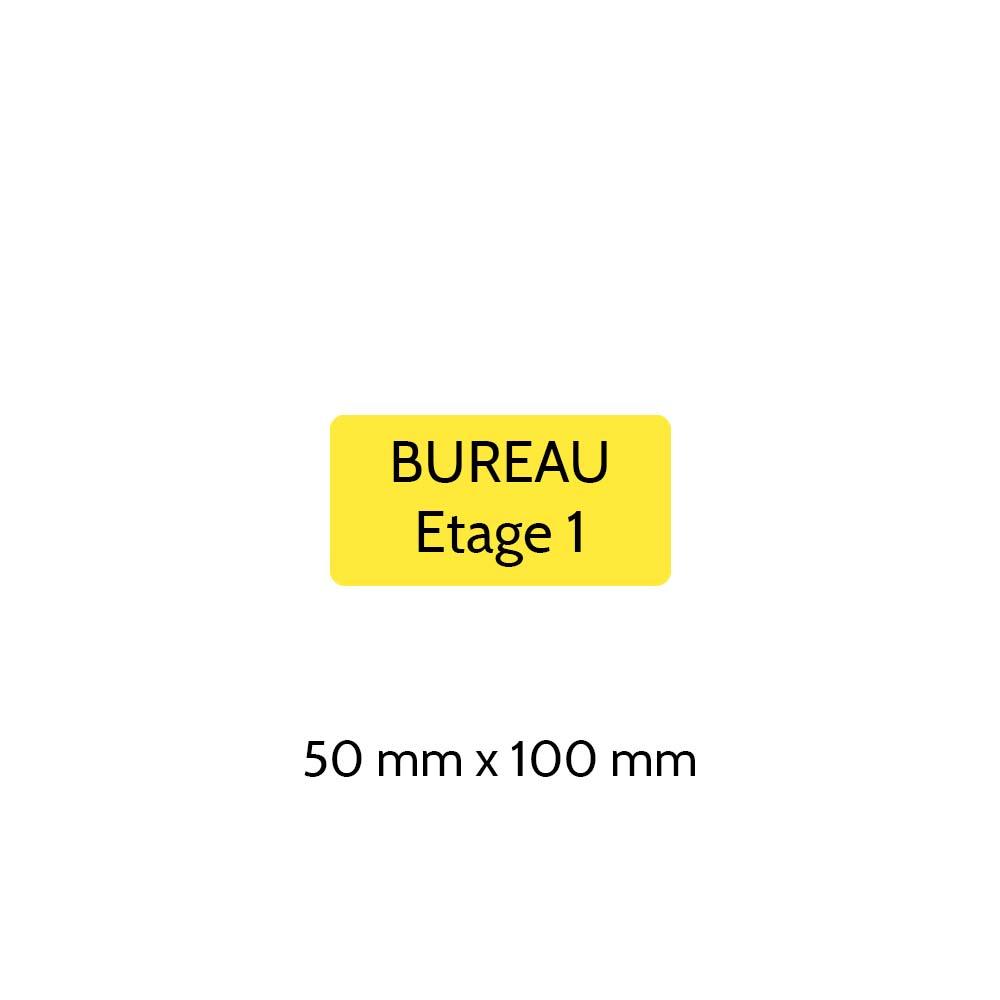 Plaque de porte gravée sur 1 à 2 lignes couleur jaune lettres noires - Rectangle angles arrondis 50 x 100 mm