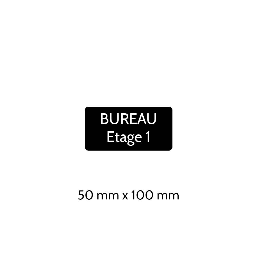 Plaque de porte gravée sur 1 à 2 lignes couleur noire lettres blanches - Rectangle angles arrondis 50 x 100 mm