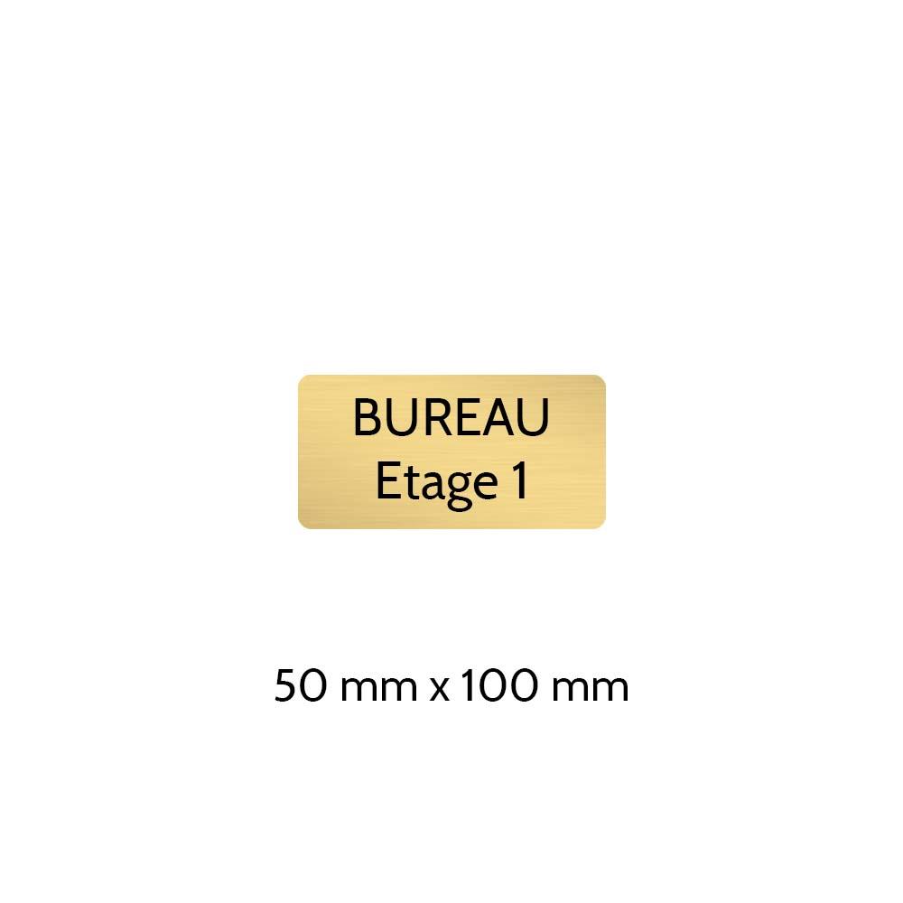 Plaque de porte gravée sur 1 à 2 lignes couleur or brossé lettres noires - Rectangle angles arrondis 50 x 100 mm