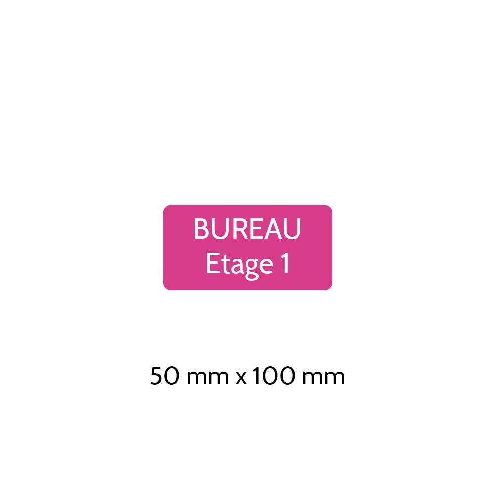 Plaque de porte gravée sur 1 à 2 lignes couleur rose lettres blanches - Rectangle angles arrondis 50 x 100 mm