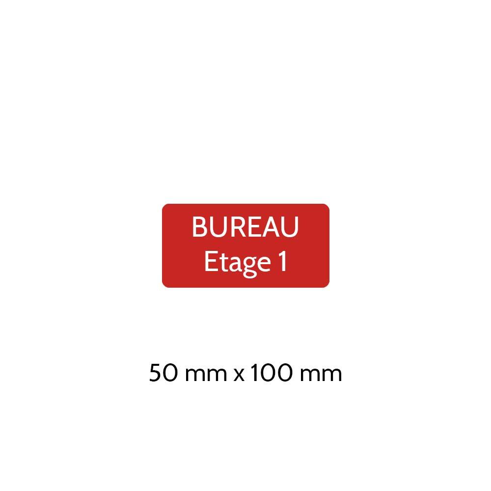 Plaque de porte gravée sur 1 à 2 lignes couleur rouge lettres blanches - Rectangle angles arrondis 50 x 100 mm