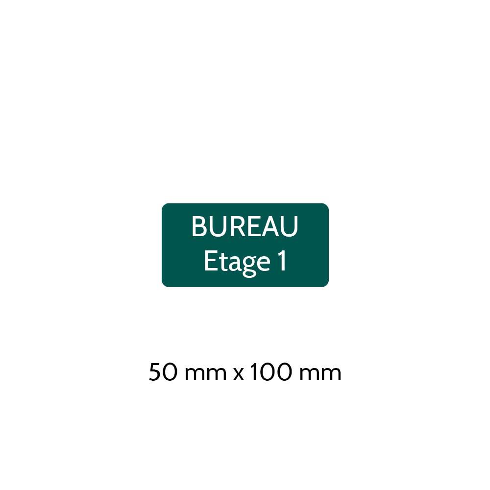 Plaque de porte gravée sur 1 à 2 lignes couleur vert foncé lettres blanches - Rectangle angles arrondis 50 x 100 mm