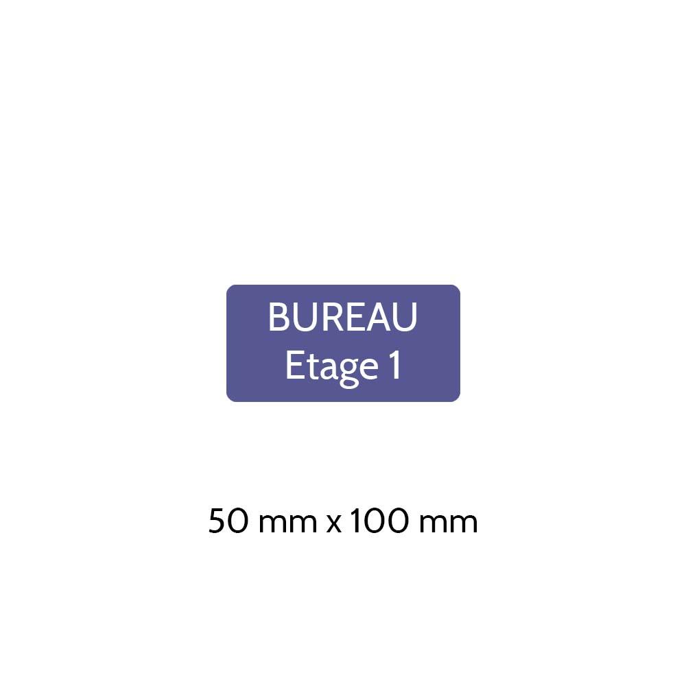 Plaque de porte gravée sur 1 à 2 lignes couleur violette lettres blanches - Rectangle angles arrondis 50 x 100 mm