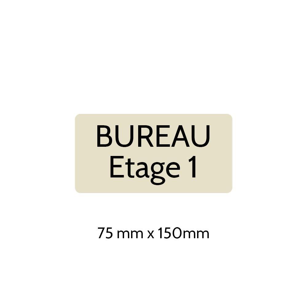 Plaque de porte gravée sur 1 à 2 lignes couleur beige lettres noires - Rectangle angles arrondis 75 x 150 mm