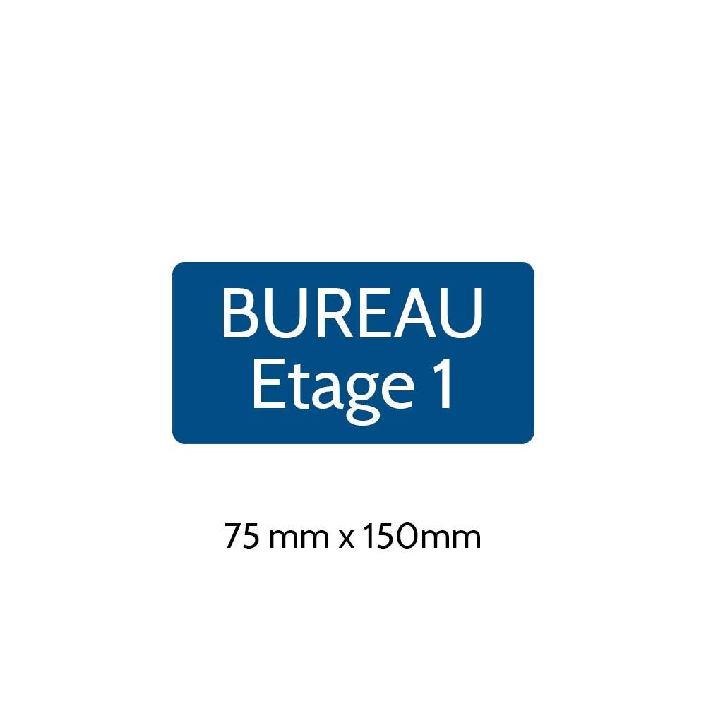 Plaque de porte gravée sur 1 à 2 lignes couleur bleue lettres blanches - Rectangle angles arrondis 75 x 150 mm