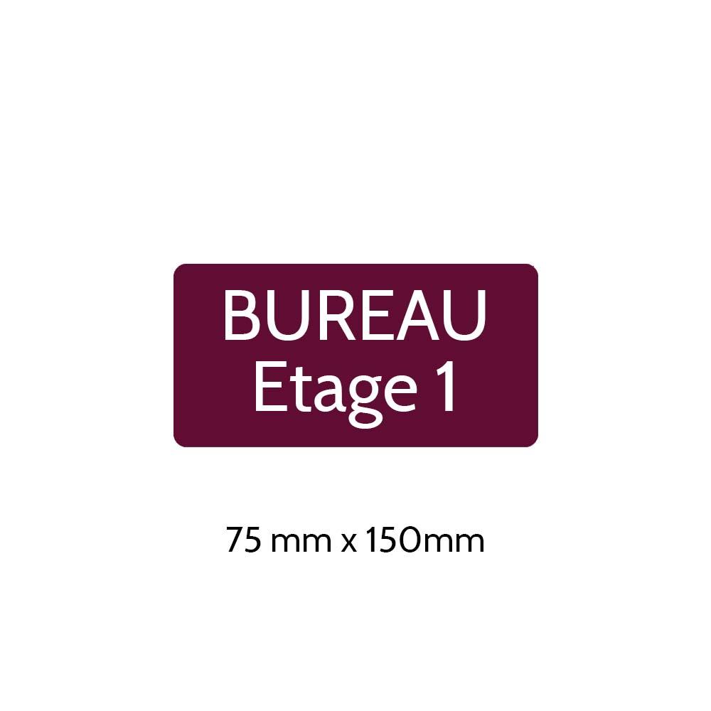Plaque de porte gravée sur 1 à 2 lignes couleur bordeaux lettres blanches - Rectangle angles arrondis 75 x 150 mm