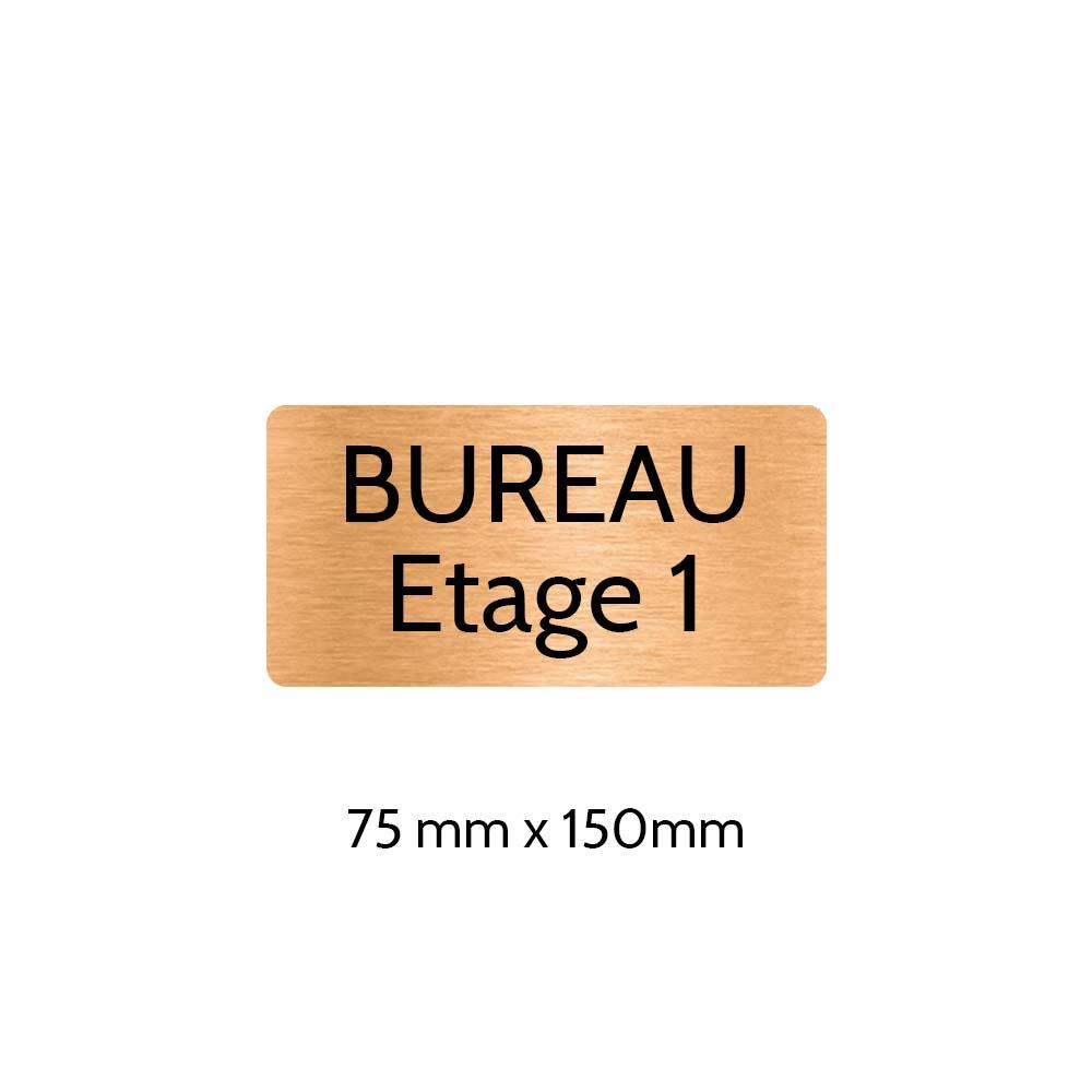 Plaque de porte gravée sur 1 à 2 lignes couleur cuivre lettres noires - Rectangle angles arrondis 75 x 150 mm